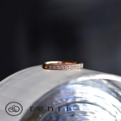 【renri(レンリ)】【手作り・オーダーメイド】ダイヤモンドのラインが華やか、ピンクゴールドのエタニティリング