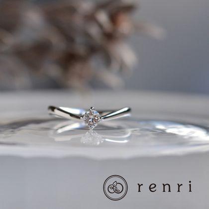 【renri(レンリ)】【手作り・オーダーメイド】柔らかな曲線が繊細なプラチナのエンゲージリング