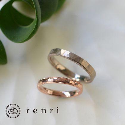 【renri(レンリ)】【手作り・オーダーメイド】繊細な縁取りと鎚目模様のコントラストが映える、デザインリング