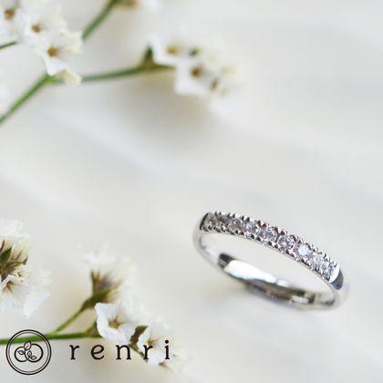 【renri(レンリ)】【手作り・オーダーメイド】ダイヤモンドを敷き詰めたシンプルなエタニティリング