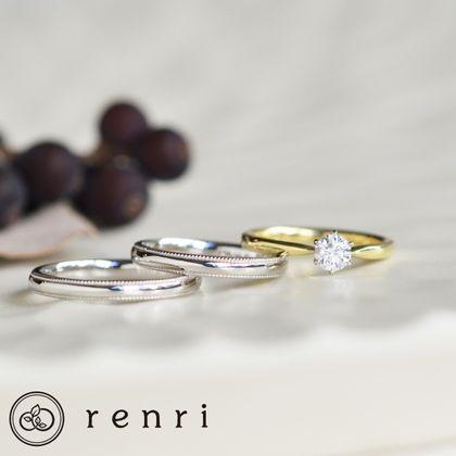 【renri(レンリ)】【手作り・オーダーメイド】グリーンゴールドの控えめなゴールドカラーがダイヤモンドの煌めきを支えるエンゲージリング