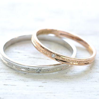 【湘南彫金工房 andfuse】【手作り結婚指輪ミルグレインコース】気品のあるミルグレイン加工を1列施してセンターにダイアモンドをセットした素敵な結婚指輪です。