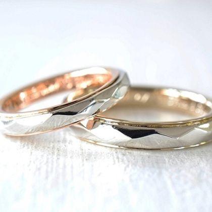 【湘南彫金工房 andfuse】【手作り結婚指輪デザインワックスコース】キラキラコンビネーションの結婚指輪