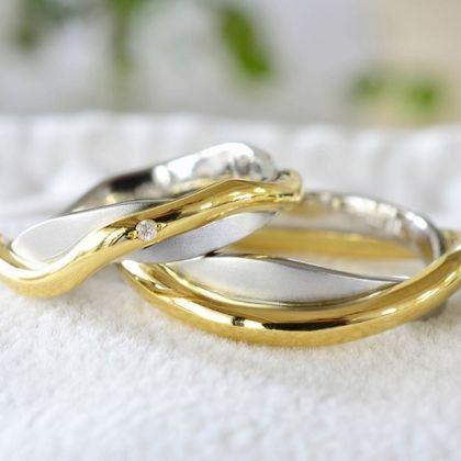 【湘南彫金工房 andfuse】海のイメージの結婚指輪【手作り結婚指輪デザインワックス】