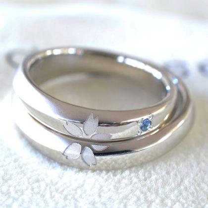 【湘南彫金工房 andfuse】【手作り結婚指輪デザインワックスコース】組み合わせるとさくらの花になるワンポイントの手作り結婚指輪