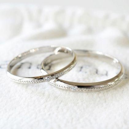 【湘南彫金工房 andfuse】【手作り結婚指輪ミルグレインコース】こう丸ミルグレイン1列