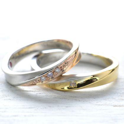 【湘南彫金工房 andfuse】【手作り結婚指輪デザインワックスコース】センターに誕生石をセットして2種類の地金を使用したコンビネーションの手作り結婚指輪