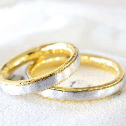【湘南彫金工房 andfuse】【手作り結婚指輪デザインワックスコース】コンビ地金のアンティークな雰囲気の手作り結婚指輪