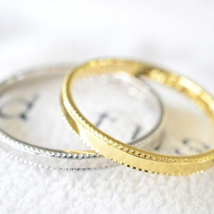 【湘南彫金工房 andfuse】【手作り結婚指輪ミルグレインコース】気品のあるミルグレイン加工を指輪のフチに施した素敵な結婚指輪です。