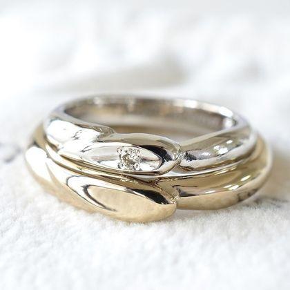 【湘南彫金工房 andfuse】手作り結婚指輪デザインワックスコース】HEART TO HEART ダイアモンドの結婚指輪