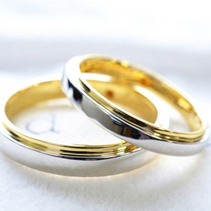 【湘南彫金工房 andfuse】【手作り結婚指輪デザインワックスコース】平打ちコンビネーションのシンプルな手作り結婚指輪