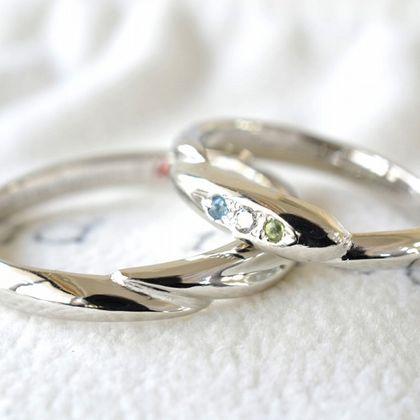 【湘南彫金工房 andfuse】【手作り結婚指輪デザインワックスコース】ハートトゥーハート スリーストーンの結婚指輪