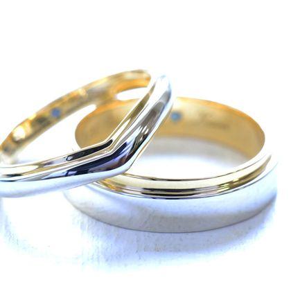 【湘南彫金工房 andfuse】【手作り結婚指輪デザインワックスコース】コンビネーションのV字と幅広のお洒落な手作り結婚指輪