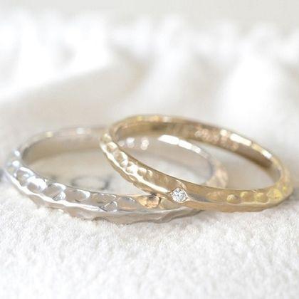 【湘南彫金工房 andfuse】槌目の結婚指輪【手作り結婚指輪デザインワックス】