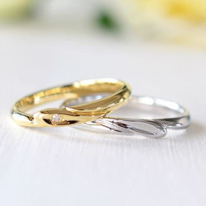 【湘南彫金工房 andfuse】【手作り結婚指輪デザインワックスコース】重ねるとハート型になる結婚指輪
