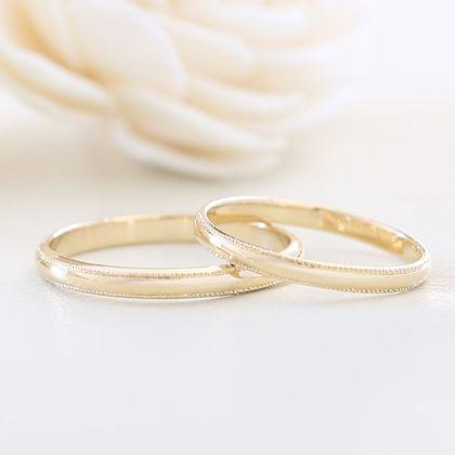 【湘南彫金工房 andfuse】【手作り結婚指輪ミルグレインコース】こうまるミルグレイン2列(プラチナ、ゴールド)