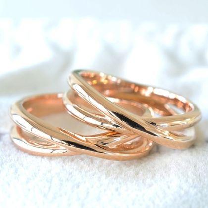 【湘南彫金工房 andfuse】【手作り結婚指輪デザインワックスコース】2連風の手作り結婚指輪