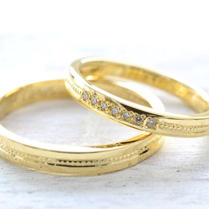 【湘南彫金工房 andfuse】【手作り結婚指輪ミルグレインコース】気品のあるミルグレイン加工をセンターに1列施してダイアモンドをセットした素敵な結婚指輪です。