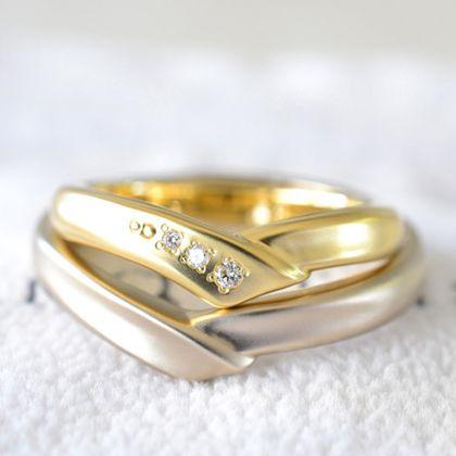 【湘南彫金工房 andfuse】【手作り結婚指輪デザインワックスコース】V字ラインの手作り結婚指輪