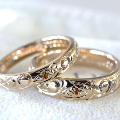 【湘南彫金工房 andfuse】【手作り結婚指輪デザインワックスコース】ハワイアンの彫刻を施した手作り結婚指輪