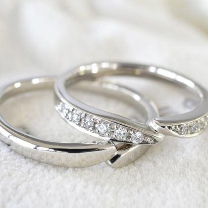 【湘南彫金工房 andfuse】キラキラダイアモンドの手作り結婚指輪【手作り結婚指輪デザインワックス】