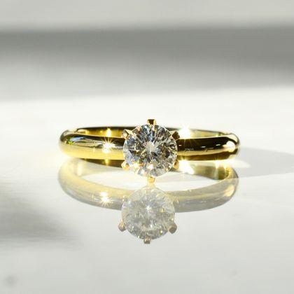 【湘南彫金工房 andfuse】手作り婚約指輪コース 6本爪の婚約指輪 K18イエローゴールド、ダイアモンド