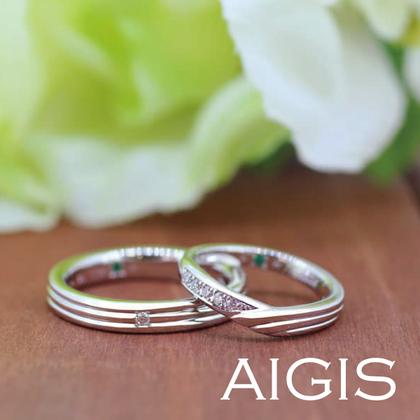 【AIGIS(旧:Jewel HAMA(ジュエルはま))】【手作り結婚指輪】ラインと重ね刻印がおしゃれなデザイン