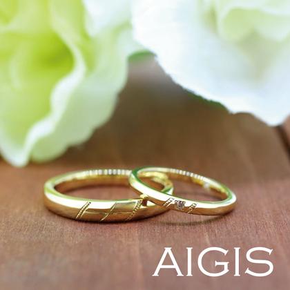 【AIGIS(旧:Jewel HAMA(ジュエルはま))】【手作り結婚指輪】ゴールド×ミル打ち