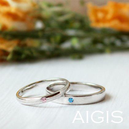 【AIGIS(旧:Jewel HAMA(ジュエルはま))】【プラチナ×カラーダイヤモンド】手作り結婚指輪