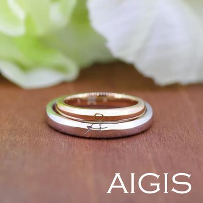 【AIGIS(旧:Jewel HAMA(ジュエルはま))】【手作り結婚指輪】コンビカラー×重ね刻印