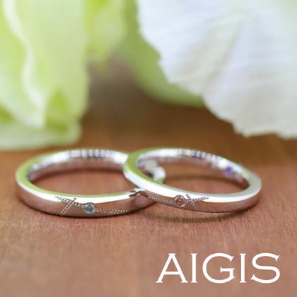 【AIGIS(旧:Jewel HAMA(ジュエルはま))】【手作り結婚指輪】カラーダイヤモンド×ミル打ちデザイン