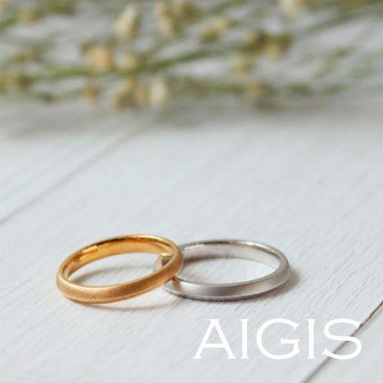 【AIGIS(旧:Jewel HAMA(ジュエルはま))】【人気】つや消しと鏡面仕上げのリバーシブルデザインの手作り結婚指輪