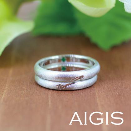 【AIGIS(旧:Jewel HAMA(ジュエルはま))】【手作り結婚指輪】流れ星の重ね刻印