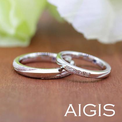 【AIGIS(旧:Jewel HAMA(ジュエルはま))】【手作り結婚指輪】プラチナ×ダイヤモンドダスト加工