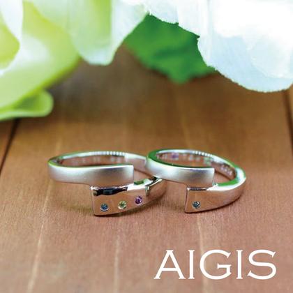 【AIGIS(旧:Jewel HAMA(ジュエルはま))】【手作り結婚指輪】抱き合わせが目をひくデザインリング