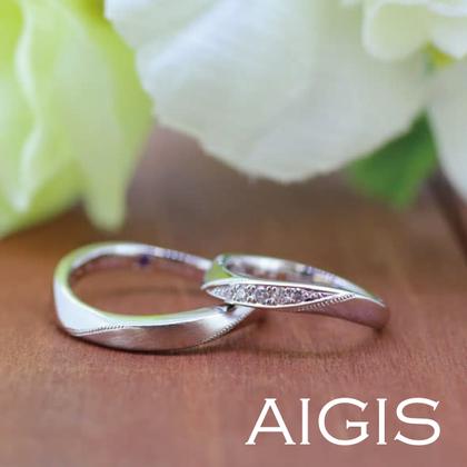 【AIGIS(旧:Jewel HAMA(ジュエルはま))】【手作り結婚指輪】プラチナ×ウェーブ