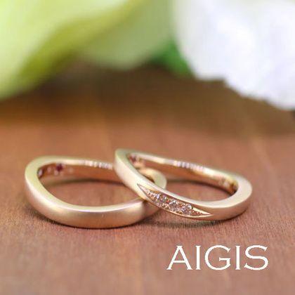 【AIGIS(旧:Jewel HAMA(ジュエルはま))】ワックスコース・ピンクゴールドの手作り結婚指輪