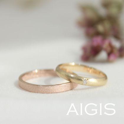 【AIGIS(旧:Jewel HAMA(ジュエルはま))】【鍛造コース】手作り結婚指輪・ピンクゴールド×イエローゴールド