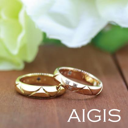 【AIGIS(旧:Jewel HAMA(ジュエルはま))】【手作り結婚指輪】イエローゴールド&ピンクゴールド 模様とダイヤでこだわり