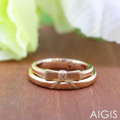【AIGIS(旧:Jewel HAMA(ジュエルはま))】【二人で作る結婚指輪】メンズ/レディースK18PG