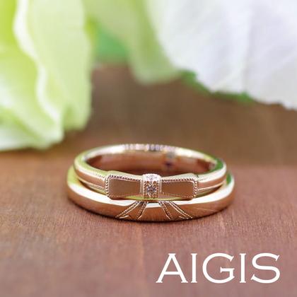 【AIGIS(旧:Jewel HAMA(ジュエルはま))】【手作り結婚指輪】重ねると二人を結ぶリボンになる