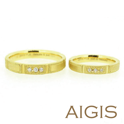 【AIGIS(旧:Jewel HAMA(ジュエルはま))】【手作り結婚指輪】つや消し×ミル打ち
