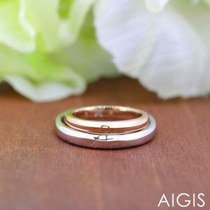 【AIGIS(旧:Jewel HAMA(ジュエルはま))】【二人で作る結婚指輪】メンズ/レディースPt900/K18PG