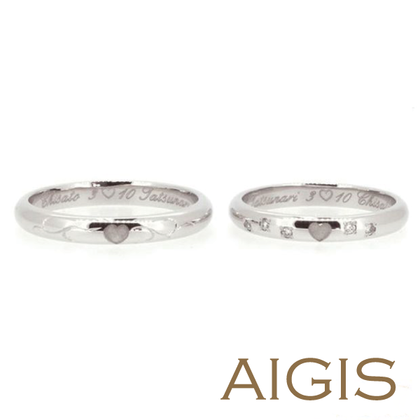 【AIGIS(旧:Jewel HAMA(ジュエルはま))】【手作り結婚指輪】プラチナ×ハートモチーフ