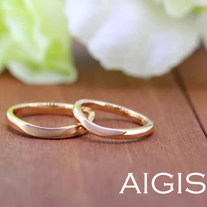 【AIGIS(旧:Jewel HAMA(ジュエルはま))】【手作り結婚指輪】ピンクゴールド×部分つや消し