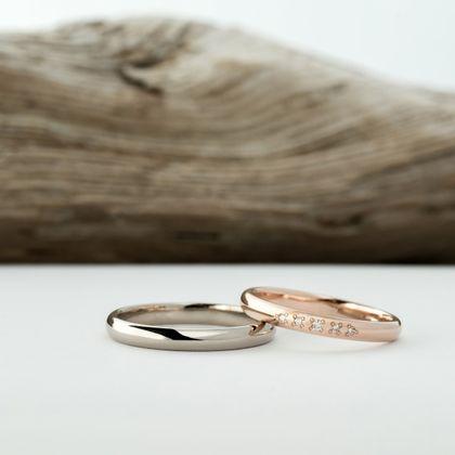 【横浜元町彫金工房】【ふたりでつくる結婚指輪】メンズK18WG&レディースK18PG(クリア仕上げ)
