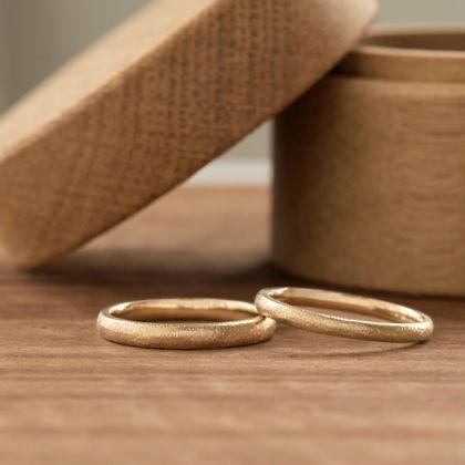 【横浜元町彫金工房】【ふたりでつくる結婚指輪】メンズK18YG&レディースK18YG(マット仕上げ)