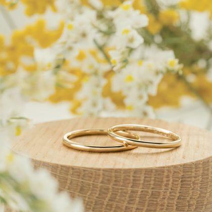 【横浜元町彫金工房】【ふたりでつくる結婚指輪】メンズK18YG&レディースK18YG(クリア仕上げ)