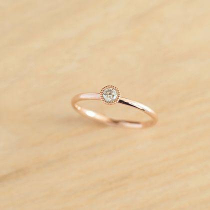【横浜元町彫金工房】【想いを込める婚約指輪】ダイヤ・K18PG(ピンク)クリア仕上げ