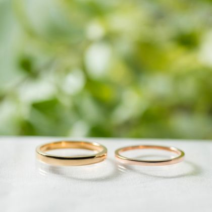 【横浜元町彫金工房】【ふたりでつくる結婚指輪】メンズK18YG(クリア仕上げ)&レディースK18PG(クリア仕上げ)